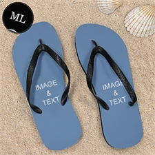 Personalized Flip Flops TWO IMAGES, Men Large