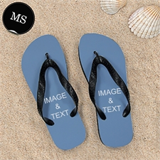 Personalized Flip Flops TWO IMAGES, Men Small