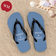 Personalized Flip Flops TWO IMAGES, Women Medium