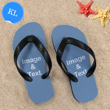 Personalized Flip Flops TWO IMAGES, Kids Large