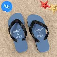 Personalized Flip Flops TWO IMAGES, Kids Medium