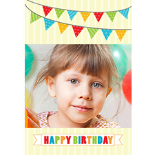 Flag Bunting Birthday Personalized Animated Invitation Card (4 X 6)
