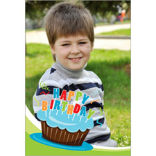 Personalized Cool Cupcake Blue Lenticular Greeting Card