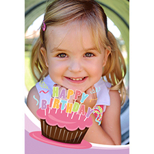 Personalized Cool Cupcake Pink Lenticular Greeting Card