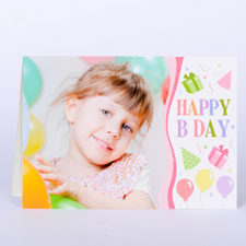 Custom Printed Happy B Day Girl Greeting Card