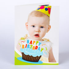 Custom Printed Cool Cupcake Blue Birthday Greeting Card