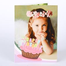 Custom Printed Cool Cupcake Pink Birthday Greeting Card