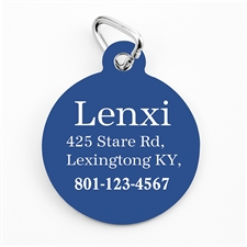 Custom Printed Royal Blue Personalized Message Dog Or Cat Tag