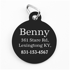 Custom Printed Classic Black Personalized Message Dog Or Cat Tag