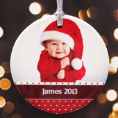 Merry Christmas Polka Dots Personalized Photo Porcelain Ornament