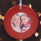 Personalized Christmas Red Polka Dots Ornament
