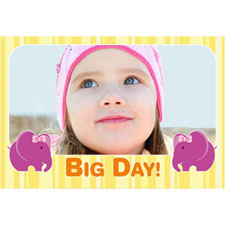 Big One Elephant Girl Personalized Animated Invitation Card (4 X 6)