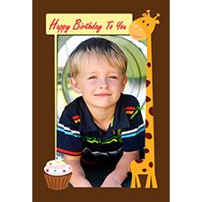 Personalized Friendly Giraffe Lenticular Greeting Card