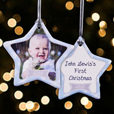 Personalized Snowing Happiness Star Shaped Ornament