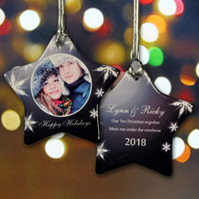 Personalized Glimmering Snow Star Shaped Ornament