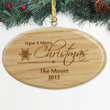 Personalized Engraved Family Is Forever Wood Ornament