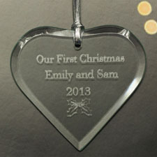 Personalized Message Heart Glass Ornament