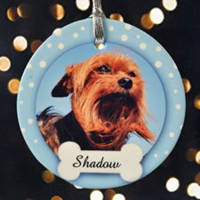 Dog Bone Personalized Photo Porcelain Ornament
