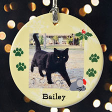 Love Kitty Our Blessings Personalized Photo Porcelain Ornament