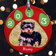 Paw Prints Christmas Personalized Photo Porcelain Ornament