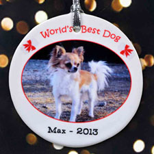 World's Best Dog Personalized Photo Porcelain Ornament