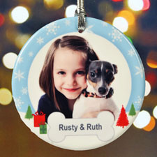 My Pet Heartwarming Wishes Personalized Photo Porcelain Ornament