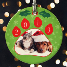 Large Paw Print Personalized Photo Porcelain Ornament
