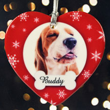 Personalized Dog We Love Bone Love Snow Heart Shaped Ornament