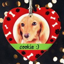 Personalized Dear Santa Pet Heart Shaped Ornament