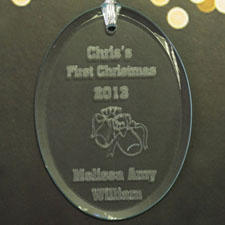 Personalized Laser Etched Baby's 1St Christmas Glass Ornament