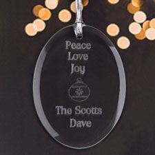 Personalized Laser Etched Peace Love Joy Glass Ornament