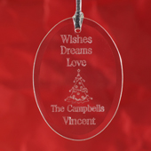 Personalized Laser Etched Wishes Dreams Love Glass Ornament