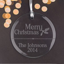 Personalized Engraved Merry Christmas Round Glass Ornament