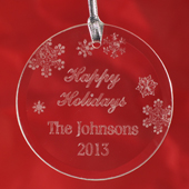 Personalized Engraved Happy Holidays Round Glass Ornament