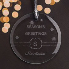 Personalized Engraved Season's Greeting Round Glass Ornament