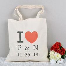 I Heart Custom Message Budget Canvas Tote Bag