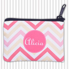 Pink Yellow Carol Chevron Personalized Coin Purse