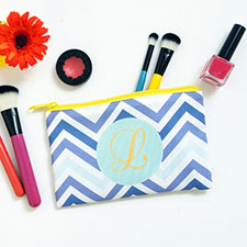 Blue Chevron Personalized Cosmetic Bag 4X7