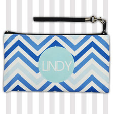 Personalized Monogrammedmed Blue Chevron 5.5X10 Clutch Bag (5.5X10 Inch)