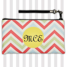 Personalized Coral Lime Green Yellow Chevron 5.5X10 Clutch Bag (5.5X10 Inch)