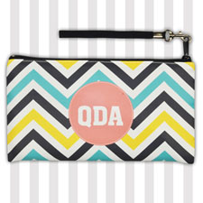 Personalized Lemon Blue Carol Chevron 5.5X10 Clutch Bag (5.5X10 Inch)