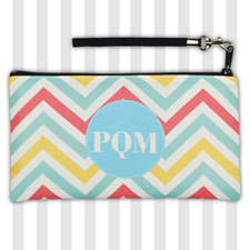 Personalized Yellow Carol Aqua Chevron 5.5X10 Clutch Bag (5.5X10 Inch)