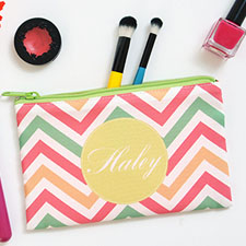 Chevron Zigzag Stripes Medium Makeup Bag (5 X 8 Inch)