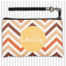 Personalized Retro Chevron Wristlet Bag (Medium Inch)