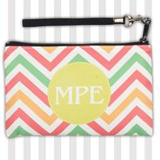 Personalized Chevron Zigzag Stripes Wristlet Bag (Medium Inch)