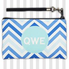 Personalized Monogrammedmed Blue Chevron Wristlet Bag (Medium Inch)