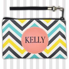 Personalized Lemon Blue Carol Chevron Wristlet Bag (Medium Inch)