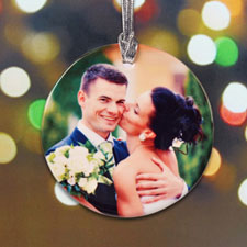 Wedding First Christmas Personalized Photo Porcelain Ornament