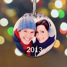First Christmas Personalized Photo Porcelain Ornament