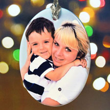 Personalized Christmas Photo Wishes Porcelain Ornaments